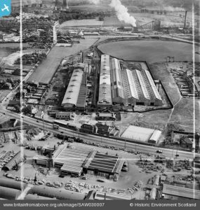 Stewarts and Lloyds Ltd. Tollcross Tube Works, Tollcross Road, Glasgow. An oblique aerial photograph taken facing south. This image has been produced from a crop marked negative.